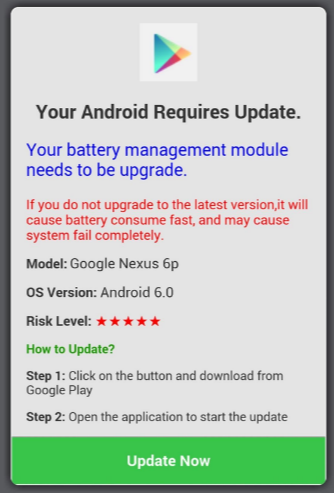 Fake update message adware in Android